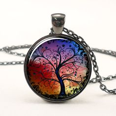 Tree Necklace Colorful Jewelry With Black Tree by rainnua on Etsy, $14.45