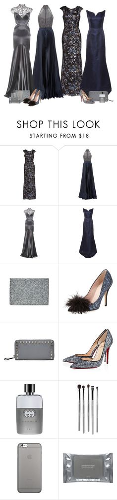 """""""Silvery Midnight"""" by cherieaustin ❤ liked on Polyvore featuring Badgley Mischka, Oday Shakar, Monique Lhuillier, Katie Ermilio, Anya Hindmarch, Kate Spade, Valentino, Christian Louboutin, Gucci and esum"""