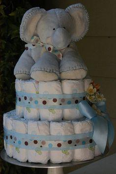 Baby Boy Elephant Diaper Cake | Flickr - Photo Sharing!