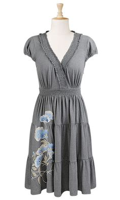 Tiered knit dress with floral embroidery from eShakti