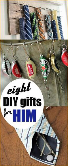 8 DIY Gifts for Him.  Christmas gifts for men.  Awesome DIY gifts for husbands, boyfriends and sons.
