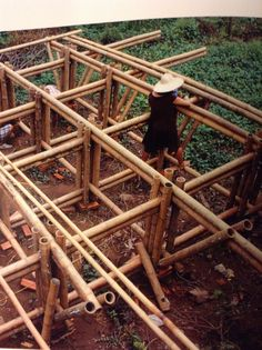 Bamboo Architecture, Architecture Details, Pallet Bed Frames, Bamboo House Design, Bamboo Building, Bamboo Structure, Bamboo Construction, Bamboo Crafts, Roof Design