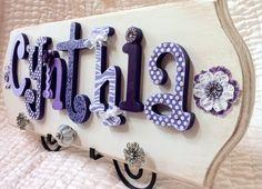 Custom Name Sign Wooden Letters for Nursery- custom nursery decor any color any theme. $80.00, via Etsy.