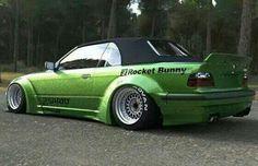 BMW E36 3 series cabrio green widebody deep dish slammed slicks