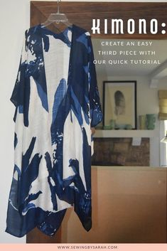Our Easy Kimono Tutorial is an easy sewing project for a beginner, and creates a. Our Easy Kimono Tutorial is an easy sewing project for a beginner, and creates a useful Kimono thir Kimono Diy, Motif Kimono, Kimono Tutorial, Tutorial Sewing, Kimono Pattern Free, Diy Clothes Kimono, Kimono And Jeans, Zipper Tutorial, Pattern Sewing