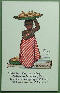 MARSH LAMBERT POSTCARD-PRODUCE OF THE WORLD - NIGERIA -RUBBER,TOBACCO,INDIGO etc | eBay