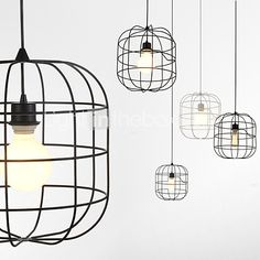 Love this for over an island in the kitchen, Mini Artistic Birdcage Pendant Lamp 1 Light Mordern Simplicity Finish Black Chandelier White Metal Carbon Steel Droplight Ceiling Lights Pendant Light Fixtures, Pendant Lamp, Pendant Lighting, Birdcage Lamp, Modern Hanging Lights, White Chandelier, Cheap Pendant Lights, Globe, Bird Cage