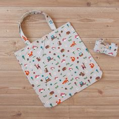 Roll up shopping tote /book bag in Woodland creature print cotton Woodland Creatures, Leaf Prints, Dance Outfits, Make And Sell, Printed Cotton, Cotton Canvas, Annie, Printing On Fabric, Reusable Tote Bags