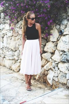 white midi skirt + black cropped vest