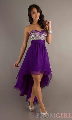 Purple studded, high low dress