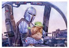 Star Wars Art Discover A Clan of Two - print Star Wars Fan Art, Star Wars I, Walt Disney, The Force Is Strong, Kawaii, Clone Wars, Cartoon Drawings, Cool Art, Anime