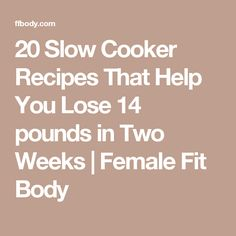 20 Slow Cooker Recipes That Help You Lose 14 pounds in Two Weeks | Female Fit Body