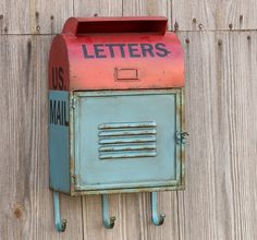 Reproduction Metal Mail Box With Hooks | Vintage Mailbox Antique Farm House