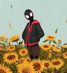 Spider-Man: Into the Spider-Verse inspired fan art by Megan Ellison. Marvel Fan Art, Marvel Heroes, Marvel Characters, Ms Marvel, Captain Marvel, Spider Man's, Marvel Universe, Miles Morales Spiderman, Fanart