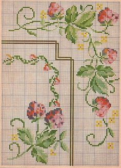 Berlin woolwork A Portuguese design… Cross Stitch Fruit, Mini Cross Stitch, Cross Stitch Needles, Cross Stitch Rose, Cross Stitch Borders, Crochet Borders, Cross Stitch Flowers, Cross Stitch Designs, Cross Stitching