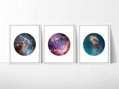 Set of 3 Hubble Telescope Space Prints / Nebula Print / Galaxy Print / Universe Print / Circle Print / 5x7, 8x10, 13x19 by MadKittyMedia on Etsy https://www.etsy.com/listing/217475148/set-of-3-hubble-telescope-space-prints