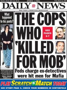 Daily News front page from Friday, March 11, 2005, featuring Eppolito and Caracappa being charged with working as hit men for the Mafia.