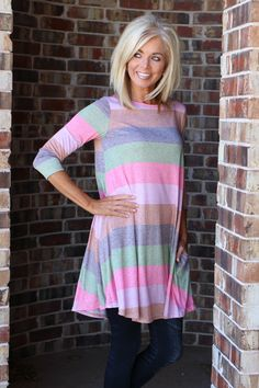 One Faith Boutique - All The Time Flowy Striped Tunic ~ Pink ~ Sizes 4-12, $37.00 (https://www.onefaithboutique.com/new-arrivals/all-the-time-flowy-striped-tunic-pink-sizes-4-12/)