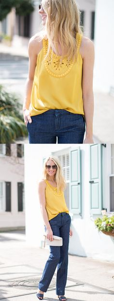 Make a date with summer in any color as long as it's sunny, bright and easy to wear and wear. Fashion Jackson is pretty and ready for date nights, lazy days and basically stealing the street with our vibrant yellow lazer cut detailed top | Banana Republic