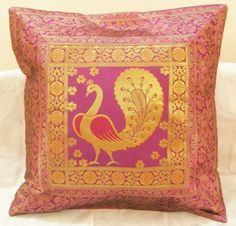 Peacock Silk Indian Cushion Pillow Covers  Vintage Ethnic Decorative India Decor