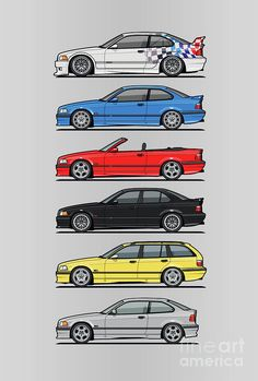 Stack Of E36 Variants Digital Art by Monkey Crisis On Mars