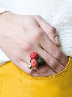 Felt Ring Wool balls Ring Sterling Silver Ring by MariaLasarga, $84.00