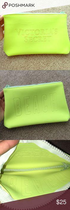"VS Yellow Swimsuit Bag / Beach Travel Cosmetic Bag Brand new!  Victoria's Secret Swim beach bag / bikini bag / beach cosmetic bag  Swimsuit travel bag  Color: neon yellow   Says ""Victoria's Secret"" on the front and ""Beach"" on the back Victoria's Secret Bags Travel Bags"