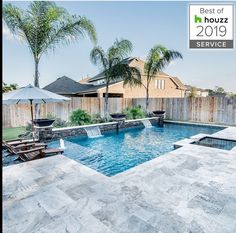 Home Decor LOVE the grey Travertine, pool color and Palm Trees! Swimming Pool Landscaping, Small Backyard Pools, Backyard Pool Designs, Backyard Patio, Outdoor Pool, Backyard Ideas, Pool Colors, Small Pool Design, Backyard Renovations