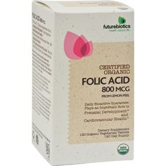 FutureBiotics Folic Acid - 120 Vegetarian Tablets - Futurebiotics Folic Acid Description:    Certified Organic  From Lemon Peel  Daily Bioactive Guarantee: Plays and Important Role in Prenatal Development and Cardiovascular Health  Organic Vegetarian Tablets  120 Day Supply FOLIC ACID   Folic Acid - Plays an important role in prenatal development and supports cardiovascular health.  Water extracted whole Lemon Peel - No chemical solvents.  100% natural-source Folic Acid - Free of pesticides…