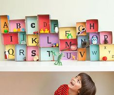 Back-To-School DIY: Build an alphabet museum to let your child associate letters an objects. Like the Origami alphabet. Alphabet Activities, Craft Activities For Kids, Projects For Kids, Diy For Kids, Crafts For Kids, Diy Crafts, Preschool Literacy, Literacy Activities, Fun Learning