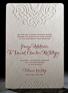 Letterpress invitation with embossed details.