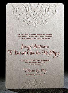 Letterpress invitation with embossed details.