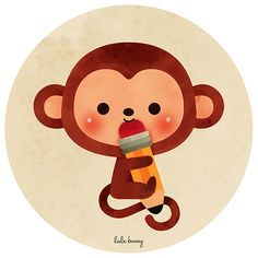 Illustration on Behance Monkey Drawing Cute, Cute Monkey, Baby Drawing, Cute Animal Illustration, Kawaii Illustration, Graphic Design Illustration, Monkey Pictures, Animal Doodles, Mascot Design