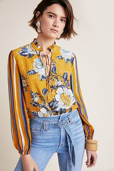 Breton Peasant Top by Bl-nk in Assorted Size: L, Women's Tops at Anthropologie Moda Floral, Floral Stripe, Floral Tops, Girl Fashion, Fashion Outfits, Womens Fashion, Luxury Fashion, Casual Skirt Outfits, Floral Fashion