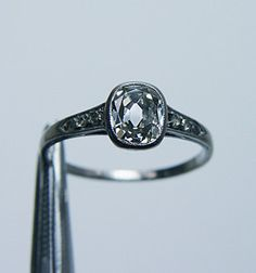 Antique Russian Rose Cut Diamond Engagement Ring 18K White Gold Estate c1910