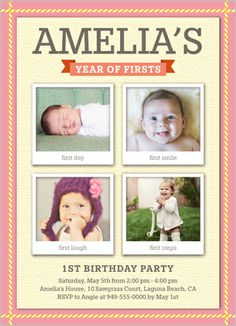 103 best baby girls 1st birthday invitations images on pinterest photo milestones girl stationery card by blonde designs find this pin and more on baby girls 1st birthday invitations stopboris Images