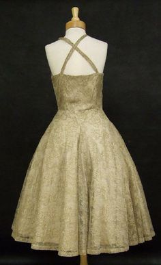 Madame Grés Ecru Lace 1950's Cocktail Dress w/ Gold Embroidery  Price: $1400 SOLD
