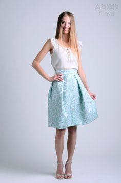 light mint acqua midi skirt / midi skirt / bridesmaids by OtinyuO