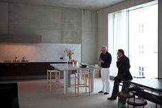 696 Joachimstraße Berlin by David Chipperfield. Vaselli custom-made table+backsplash in David Chipperfield's office-home.