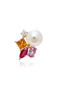 'Pearl Bead Single' Earring; A Stunning Cluster Stud with Elegant Pearl, Ruby, Mandarin Garnet, Pink Sapphire and Diamond in 18K Yellow Gold by HOLLY DYMENT R-2018 for Pre- Order on Moda Operandi