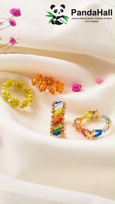 Diy Jewelry Unique, Handmade Wire Jewelry, Diy Crafts Jewelry, Handmade Bracelets, Bead Jewellery, Jewelry Making Beads, Beaded Jewelry, Diy Beaded Rings, Diy Rings With Beads