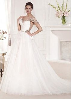 Buy discount Romantic Tulle Bateau Neckline A-line Wedding Dresses with Beadings at Dressilyme.com