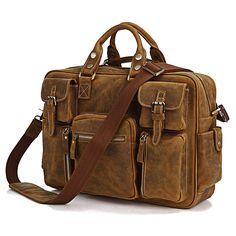 Image of Vintage Handmade Genuine Crazy Horse Leather Business Travel Bag /Duffle bag/Luggage Bag