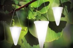 Solar cone lights that can be hung from tree branches. I want some in my backyard this summer.