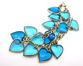 Puffy Heart Charm Bracelet - Blue Glass Sterling Silver