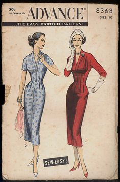 af1b62f5993c Items similar to 1950s Size 10 Bust 31 Easy Sheath Dress Plunging Neckline  Advance 8368 Vintage Sewing Pattern 50s Mid Century Sew Wiggle on Etsy