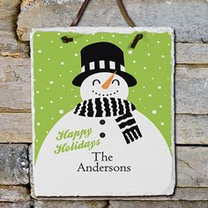 Ok-Personalized Snowman Holiday Slate Plaque