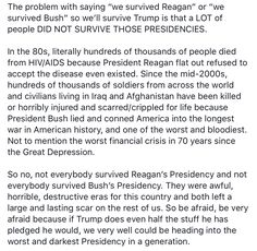 """Stop saying """"we survived"""" bad president before."""