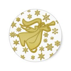 Elegant gold Christmas angel greetings wishes Stickers