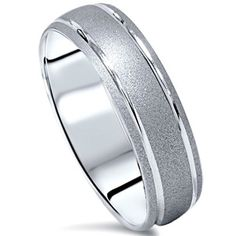 10k White Gold Men's Brushed Double Inlay Wedding Band | Overstock.com Shopping - The Best Deals on Men's Rings